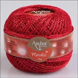 Anchor metallic horgolócérna 25g - színkód: 318 Red